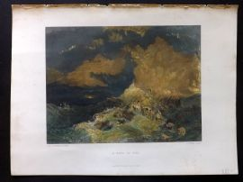Turner 1879 Folio Hand Col Print. A Fire at Sea. Maritime